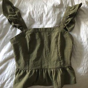 Army green ruffle crop